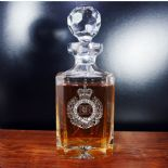 Personalised Forces Military Crest Cap Badge Crystal Decanter ref CCDF